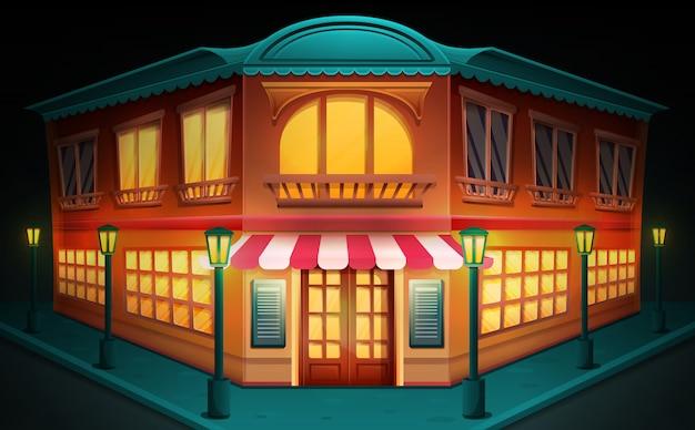 Desenho de construção com um restaurante à noite, ilustração