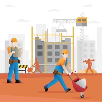 Desenho de construtor de construção