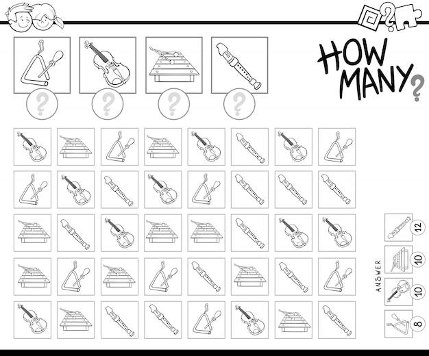 Desenho de contando instrumentos musicais para colorir