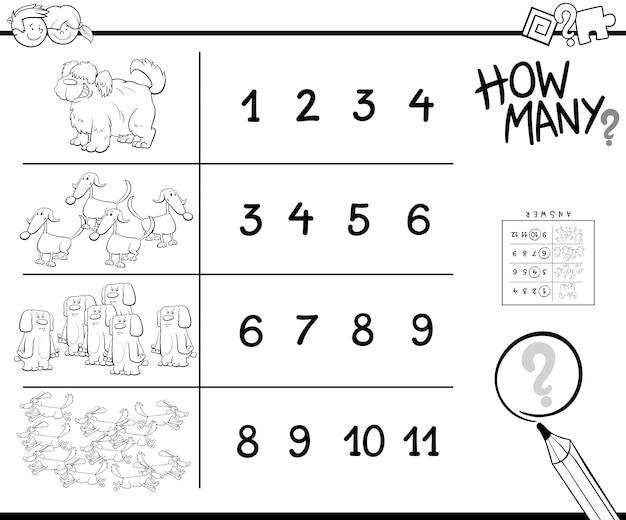 Desenho de contando jogo com cachoris para colorir