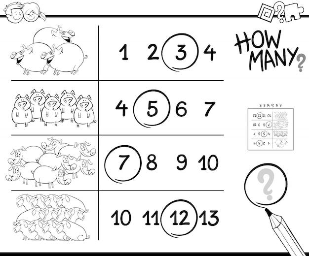 Desenho de contando jogo com porcos para colorir