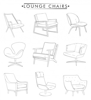 Desenho de contorno de cadeiras de salão