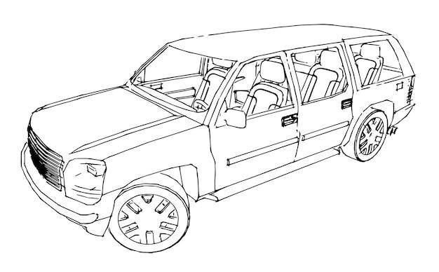 Desenho de contorno do carro suv de uma mão.