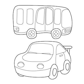 Desenho de contorno preto e branco de ônibus e carro. livro de colorir para crianças - vetor