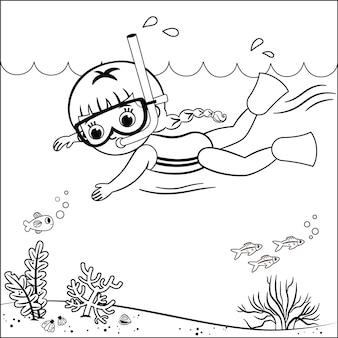 Desenho de contorno preto e branco de uma menina que nadava.