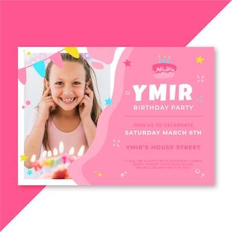 Desenho de convite de aniversário com foto