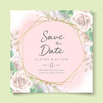 Desenho de convite de casamento floral