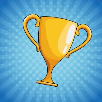 Desenho de copa do troféu de arte pop