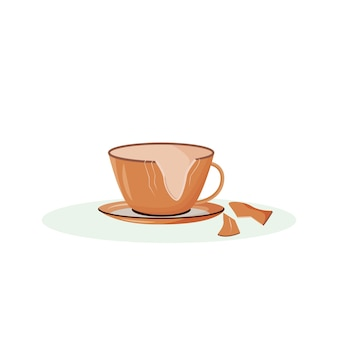 Desenho de copo quebrado. xícara de chá rachada, louça quebrada, objeto de cor lisa. superstição tradicional, sinal de boa sorte. caneca de cerâmica quebrada isolada no fundo branco