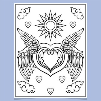 Desenho de coração com arte de asas zentangle