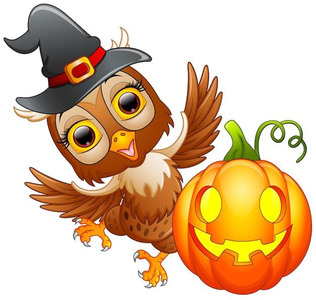 Desenho de coruja com chapéu de halloween e abóbora
