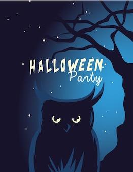 Desenho de coruja de halloween com árvore na frente à noite