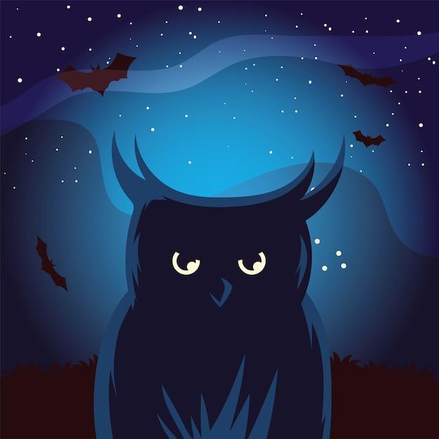 Desenho de coruja de halloween com morcegos na frente à noite, feriado e tema assustador