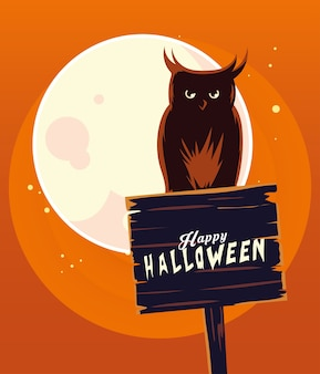 Desenho de coruja de halloween em banner de madeira em frente ao desenho da lua, feriado e tema assustador