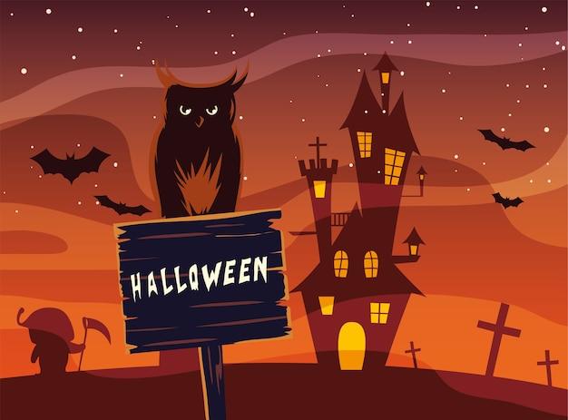 Desenho de coruja de halloween em banner de madeira em frente ao desenho do castelo