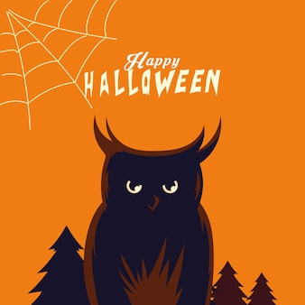 Desenho de coruja de halloween em design de floresta, feriado e tema assustador