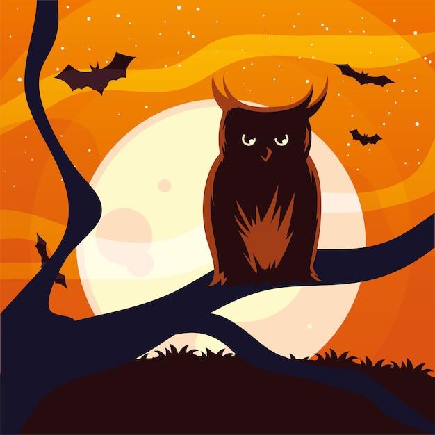 Desenho de coruja de halloween na árvore em frente ao desenho da lua, feriado e tema assustador