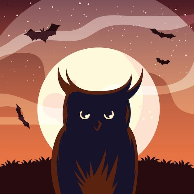 Desenho de coruja de halloween na frente do desenho da lua, feriado e tema assustador