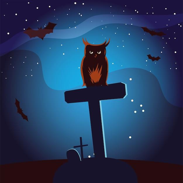 Desenho de coruja de halloween na sepultura com desenho de morcegos