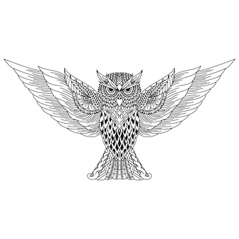 Desenho de coruja em estilo zentangle