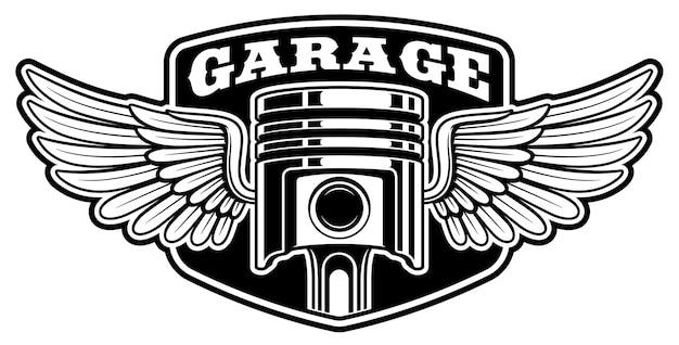 Desenho de crachá de motociclista com pistão