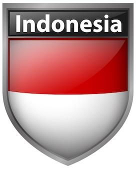 Desenho de crachá para bandeira da indonésia