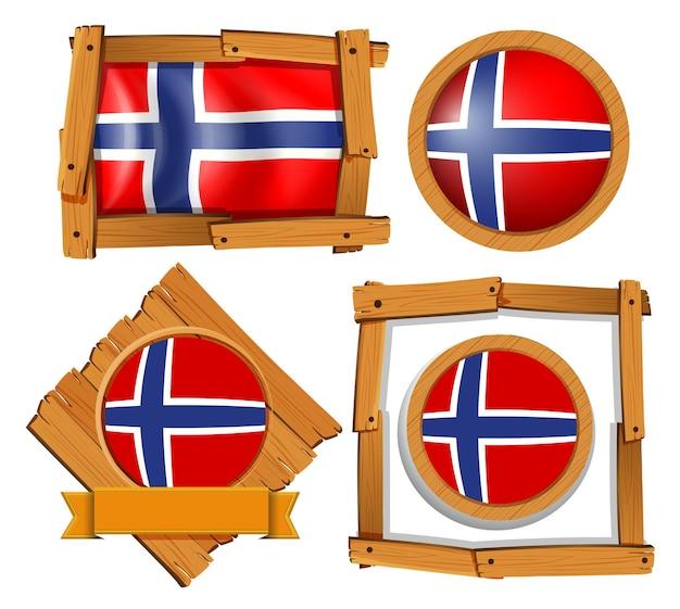 Desenho de crachá para bandeira da noruega