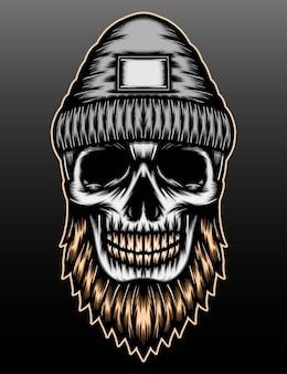 Desenho de crânio de lenhador barbudo desenhado à mão