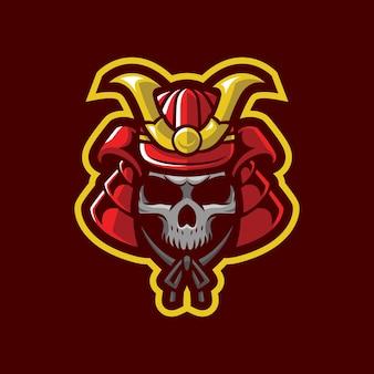 Desenho de crânio de samurai mascote