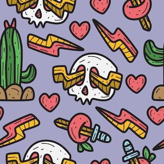 Desenho de crânio desenho padrão doodle ilustração