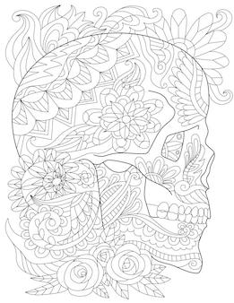 Desenho de crânio em tatuagem cercado por lindas rosas e folhas agradáveis olhando de lado