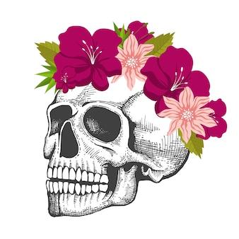 Desenho de crânio humano com guirlanda floral isolado no fundo branco