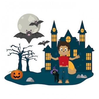 Desenho de criança e halloween