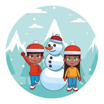 Desenho de crianças de inverno fofo