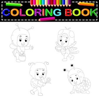 Desenho de crianças fofos usando coloração de traje animal