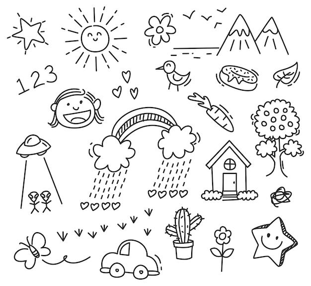 Desenho de crianças no fundo branco