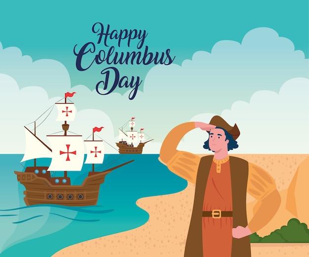 Desenho de cristóvão colombo e navios no mar com o tema do feliz dia de colombo na américa e descoberta