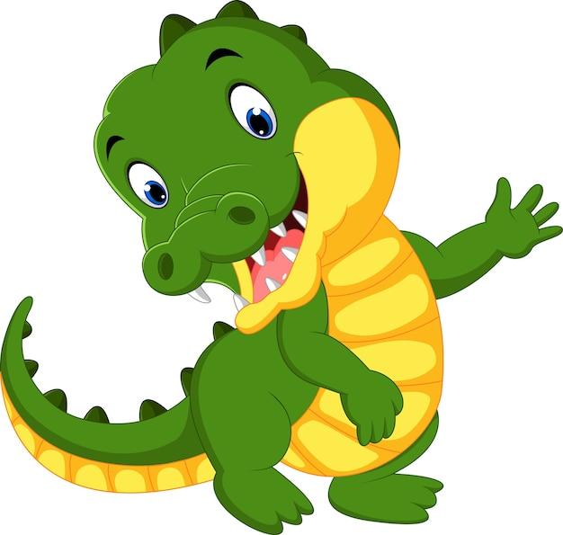 Desenho de crocodilo bonito Vetor Premium