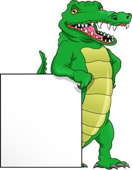 Desenho de crocodilo fofo e sinal em branco