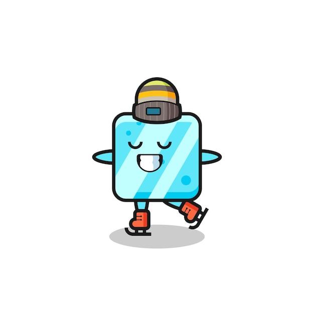 Desenho de cubo de gelo como um jogador de patinação no gelo fazendo performance, design de estilo fofo para camiseta, adesivo, elemento de logotipo