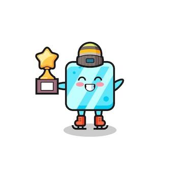 Desenho de cubo de gelo como um jogador de patinação no gelo segura o troféu de vencedor, design de estilo fofo para camiseta, adesivo, elemento de logotipo