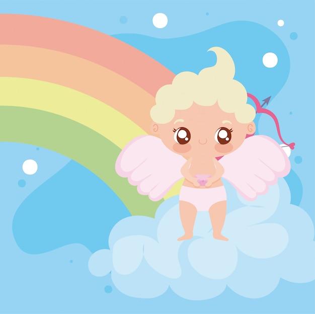 Desenho de cupido bebê e arco-íris design