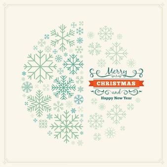 Desenho de decoração de natal feito de flocos de neve