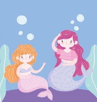 Desenho de decoração de pequenas sereias fofas no fundo do mar