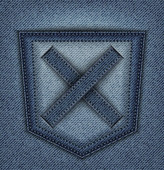 Desenho de denim azul com bolso traseiro e cruz com pontos.