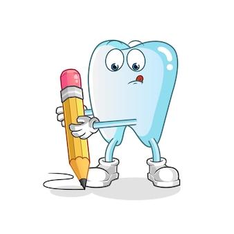 Desenho de dente com ilustração de personagem a lápis