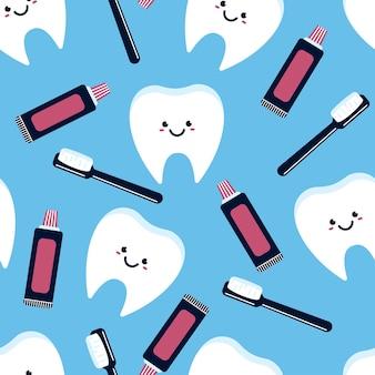 Desenho de dentista sem costura de fundo para papel de parede, embalagem, embalagem e pano de fundo.