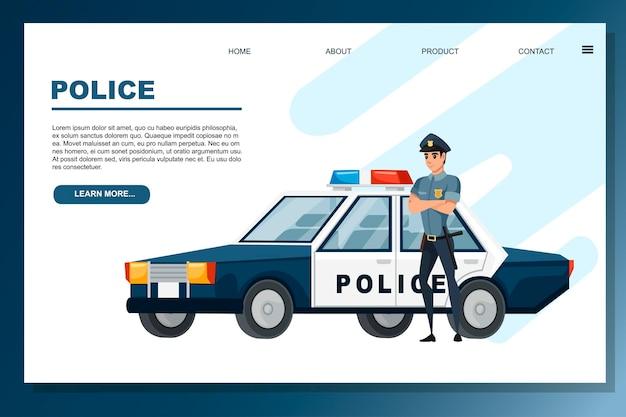 Desenho de desenho animado, carro de polícia e ilustração vetorial plana de policial no fundo branco