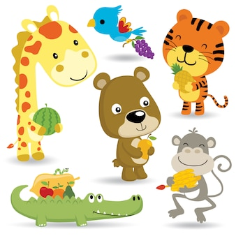 Desenho de desenho animado de animais engraçados com frutas