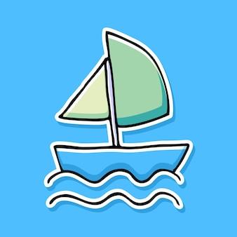 Desenho de desenho animado de barco a vela desenhado à mão